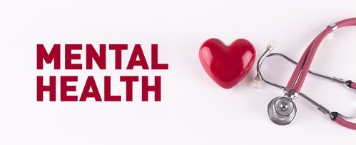 MENTAL HEALTH concept with stethoscope and heart shape